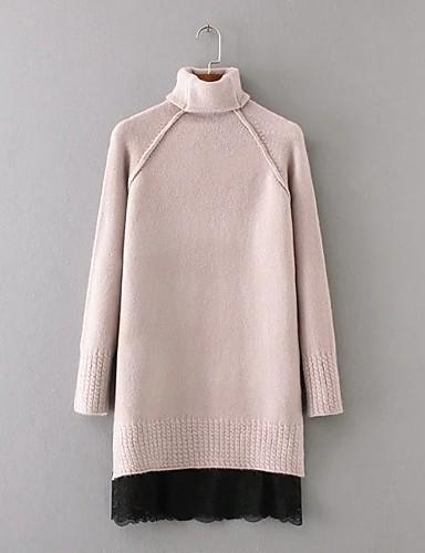 Damen Lang Pullover-Ausgehen Lässig/Alltäglich Einfach Solide Spitze Rollkragen Langarm Wolle Baumwolle Herbst Winter Dünn Mittel