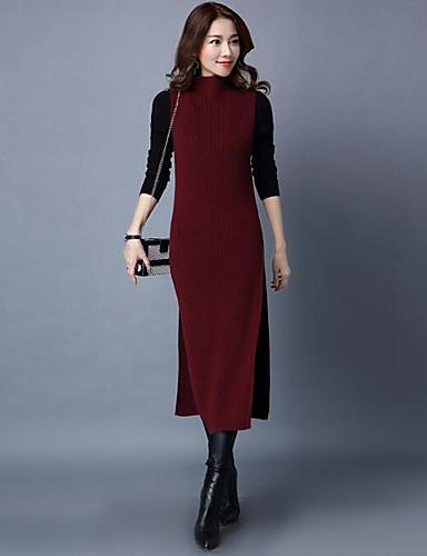Damen Lang Pullover-Lässig/Alltäglich Solide Rollkragen Ärmellos Wolle Andere Herbst Winter Mittel Mikro-elastisch