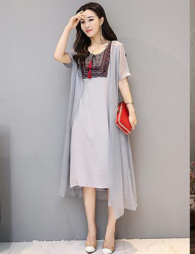 Damen Lose Kleid-Lässig/Alltäglich Solide Quadratischer Ausschnitt Asymmetrisch Kurzarm Leinen Sommer Mittlere Hüfthöhe Unelastisch Dünn