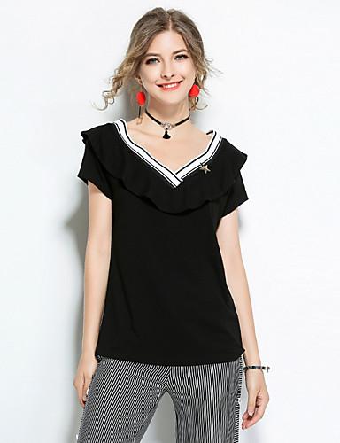 Damen Solide Einfarbig Einfach Lässig/Alltäglich T-shirt,V-Ausschnitt Kurzarm Baumwolle
