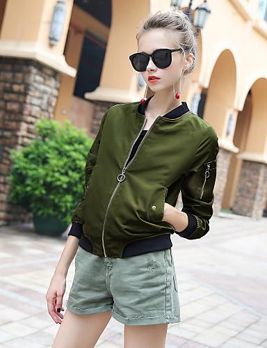 Damen Solide Einfach Sport Ausgehen Lässig/Alltäglich Jacke,Rundhalsausschnitt Herbst Winter Langärmelige Standard Polyester