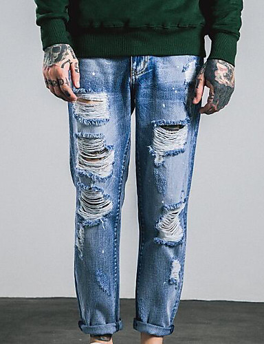 Herren Einfach Mittlere Hüfthöhe Mikro-elastisch Jeans Lose Hose Solide