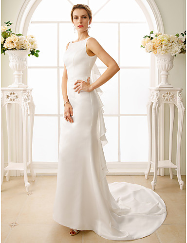 Mermaid / Trumpet Bateau Neck Court Train Satin Made-To-Measure Wedding Dresses with Cascading Ruffles by LAN TING BRIDE® / Open Back