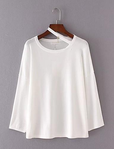 Damen Standard Pullover-Ausgehen Lässig/Alltäglich Einfach Solide Rundhalsausschnitt Langarm Kunstseide Polyester Nylon Frühling Herbst