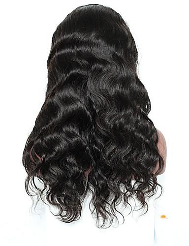 billige Blondeparykker med menneskehår-Ekte hår Halvblonder uten lim Blonde Forside Parykk Side del stil Brasiliansk hår Bølget Krop Bølge Naturlige bølger Natur Svart Parykk 250% Hair Tetthet med baby hår Naturlig hårlinje Afroamerikansk