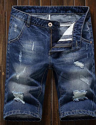 Herrn Einfach Mittlere Hüfthöhe Mikro-elastisch Schlank Jeans Hose Sommer Patchwork