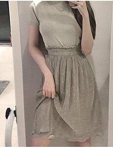 Damen Ausgehen Midi Röcke Schaukel einfarbig Sommer
