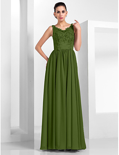 billige Feriekjoler-A-linje Illusjon Hals Gulvlang Chiffon / Tyll Kjole med Appliqué av TS Couture®