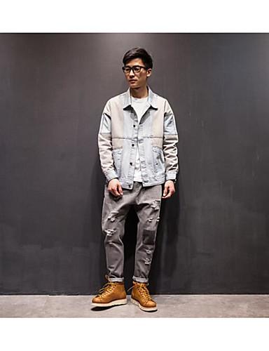 Herren Solide Einfach Lässig/Alltäglich Jeansjacke,Hemdkragen Frühling Lange Ärmel Standard Polyester