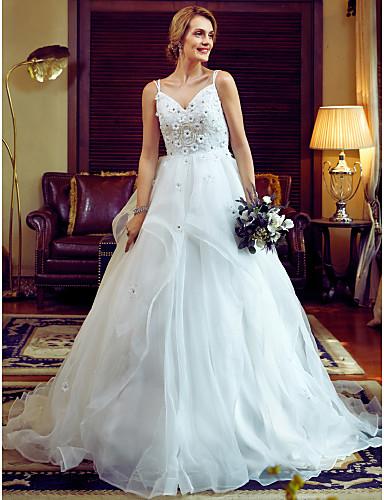 Báli ruha Spagettipánt Kápolna uszály Organza Egyéni esküvői ruhák val vel Gyöngydíszítés Virág által LAN TING BRIDE®