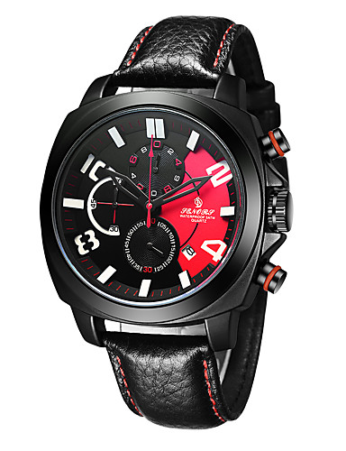 Men's Sport Watch Japanese Chronograph / Water Resistant / Water Proof Genuine Leather Band Fashion Black