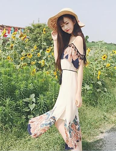 صيف قطن بدون كم ميدي مع حمالة طباعة فستان فضفاض معقد حزب نساء,وسط مطاطي صغير رقيق