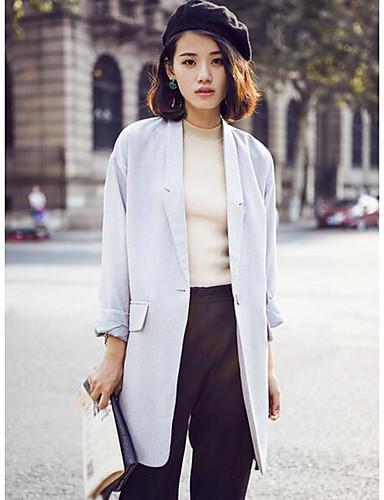 Damen Solide Einfach Lässig/Alltäglich Mantel,Steigendes Revers Frühling Lange Ärmel Lang Polyester