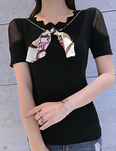 Damen Standard Pullover-Lässig/Alltäglich Solide Rundhalsausschnitt Kurzarm Polyester Sommer Dünn Mikro-elastisch