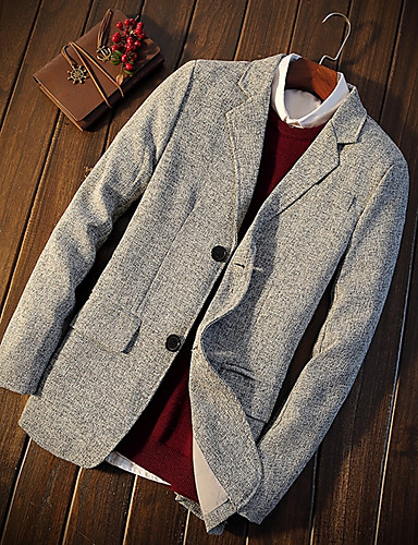 Herren Solide Einfach Retro Ausgehen Blazer,Ständer Frühling Lange Ärmel Standard Polyester