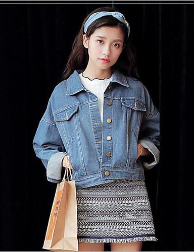 Damen Solide Einfach Ausgehen Lässig/Alltäglich Jeansjacke,Hemdkragen Frühling Lange Ärmel Kurz Baumwolle