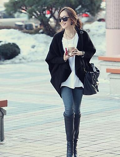 Damen Standard Strickjacke-Ausgehen Lässig/Alltäglich Einfach Solide V-Ausschnitt Langarm Acryl Herbst Mittel Mikro-elastisch