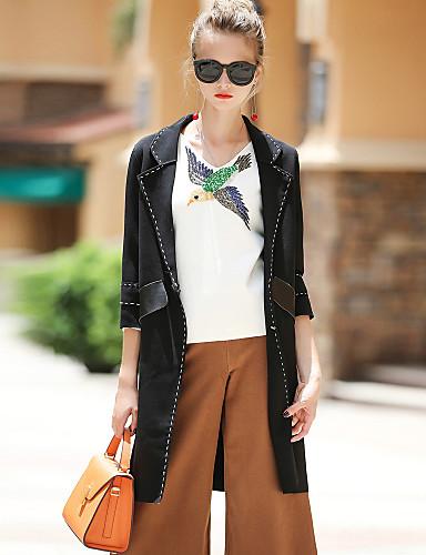 Damen Solide Einfach Ausgehen Lässig/Alltäglich Mantel,V-Ausschnitt Herbst Winter Halbe Ärmel Standard PU Baumwolle