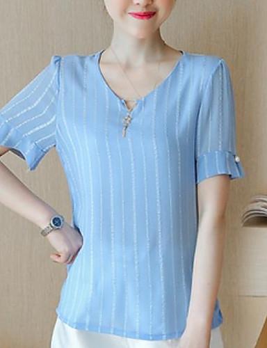 Damen Gestreift Einfach Street Schick Ausgehen T-shirt,V-Ausschnitt Sommer Kurzarm Baumwolle