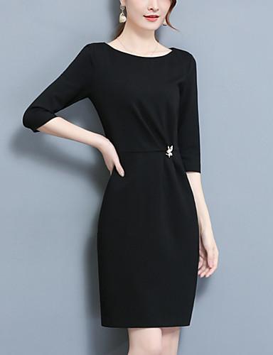 Damen Ausgehen Einfach / Street Schick Hülle Kleid - Gespleisst, Solide Übers Knie Hohe Hüfthöhe