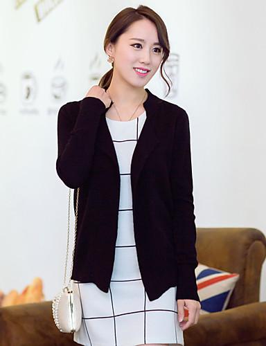 Damen Standard Strickjacke-Lässig/Alltäglich Solide Hemdkragen Langarm Baumwolle Winter Mittel Mikro-elastisch
