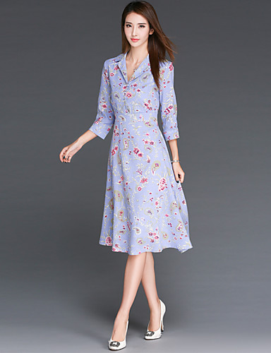 Damen Hülle Kleid-Ausgehen Lässig/Alltäglich Blumen V-Ausschnitt Midi 3/4 Ärmel Baumwolle Leinen Sommer Mittlere Hüfthöhe Mikro-elastisch