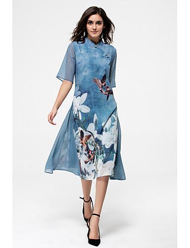 Per donna Taglie forti Moda città Seta Fodero Vestito Fantasia floreale Colletto alla coreana Al ginocchio