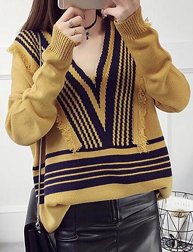 Damen Standard Pullover-Lässig/Alltäglich Gestreift V-Ausschnitt Langarm Baumwolle Leinen Herbst Mittel Mikro-elastisch