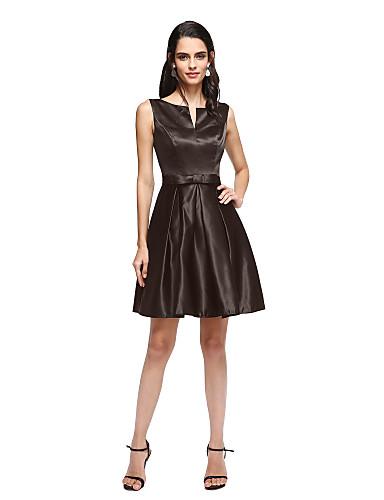 preiswerte Abendkleider-A-Linie V-Wire Ausschnitt Kurz / Mini Satin Kleines Schwarzes Kleid Cocktailparty / Abiball Kleid mit Schleife(n) / Plissee durch TS Couture®