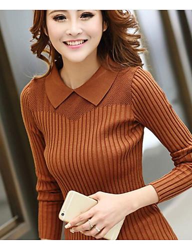 Damen Standard Pullover-Lässig/Alltäglich Solide Hemdkragen Langarm Baumwolle Herbst Winter Mittel Dehnbar