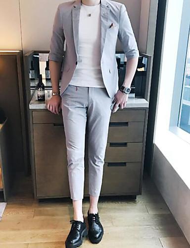 Herren Solide Einfach Arbeit Anzug,Steigendes Revers Sommer ¾ Ärmel Standard Baumwolle Polyester