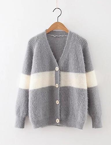 Damen Standard Strickjacke-Ausgehen Lässig/Alltäglich Einfach Niedlich Solide Einfarbig V-Ausschnitt Langarm Wolle Baumwolle Polyester