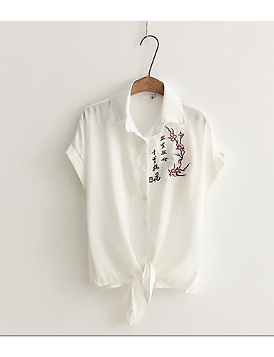 Damen Solide Druck Einfach Lässig/Alltäglich Hemd,Hemdkragen Sommer Kurzarm Baumwolle