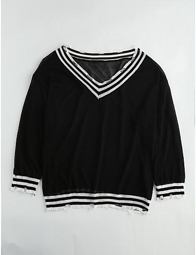Damen Solide Bluse, V-Ausschnitt Polyester