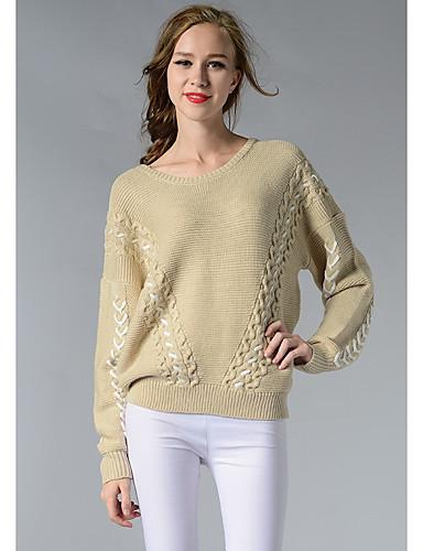 Damen Kurz Pullover-Lässig/Alltäglich Niedlich Solide Rundhalsausschnitt Langarm Acryl Herbst Winter Dick Mikro-elastisch