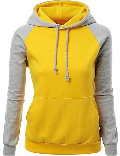 Damen Kapuzenshirt Lässig/Alltäglich Einfach Einfarbig Dehnbar Baumwolle Acryl Lange Ärmel Herbst