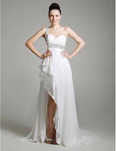 מעטפת \ עמוד כתפיה אחת שובל סוויפ \ בראש שיפון סאטן נמתח ערב רישמי שמלה עם חרוזים שסע קדמי על ידי TS Couture®