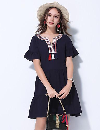 Damen Hülle Kleid-Ausgehen Niedlich Einfarbig V-Ausschnitt Übers Knie Kurzarm Baumwolle Sommer Mittlere Hüfthöhe Mikro-elastisch Mittel