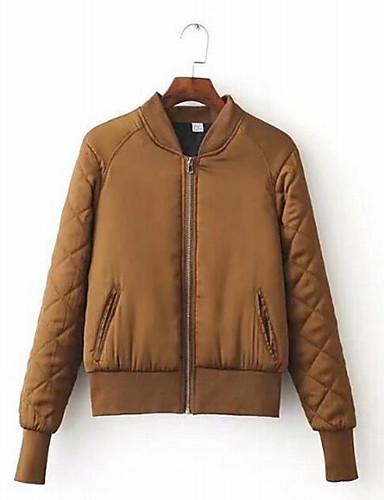 Damen Gefüttert Mantel Einfach Lässig/Alltäglich Solide-Baumwolle Polyester Baumwolle Langarm
