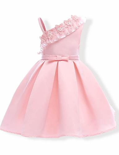 Pamut Poliészter Egyszínű Nyár Ujjatlan Lány Ruha Virágos Arcpír rózsaszín