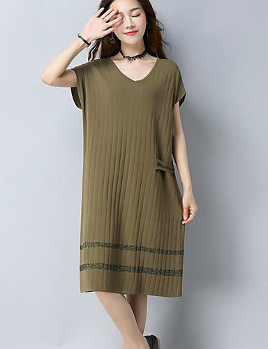 Damen Lose Kleid-Lässig/Alltäglich Solide V-Ausschnitt Midi Kurzarm Baumwolle Herbst Mittlere Hüfthöhe Mikro-elastisch Mittel