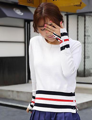 Damen Standard Strickjacke-Lässig/Alltäglich Gestreift Rundhalsausschnitt Langarm Wolle Frühling Mittel Mikro-elastisch
