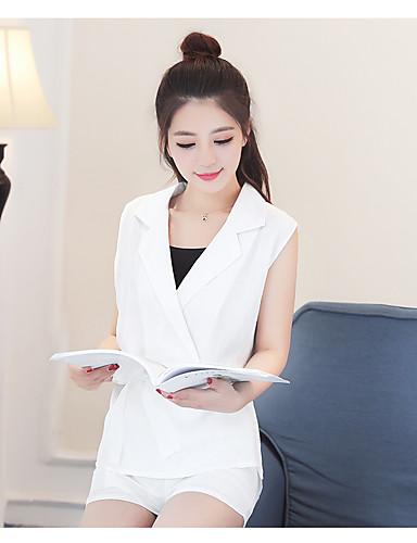 Damen Solide Einfach Arbeit Shirt Hose Anzüge,V-Ausschnitt Sommer Ärmellos