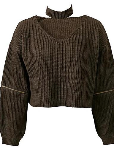 Damen Standard Pullover-Ausgehen Lässig/Alltäglich Street Schick Solide V-Ausschnitt Langarm Baumwolle Elasthan Herbst Mittel