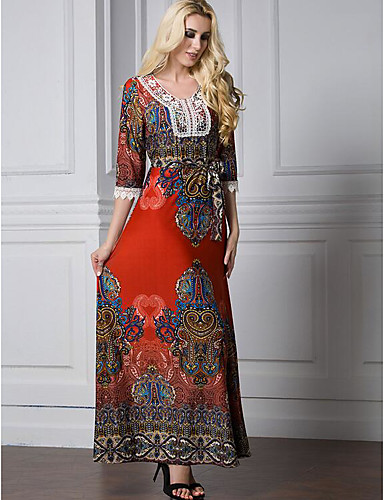 Women's Plus Size Cotton Jalabiya Dress Print High Rise Maxi / Summer