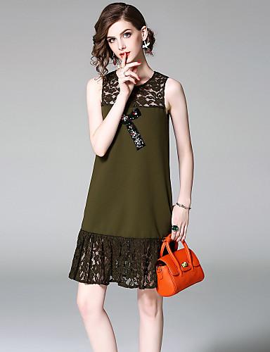 Damen Etuikleid Kleid-Ausgehen Lässig/Alltäglich Street Schick Jacquard Rundhalsausschnitt Übers Knie Ärmellos Polyester Sommer Herbst