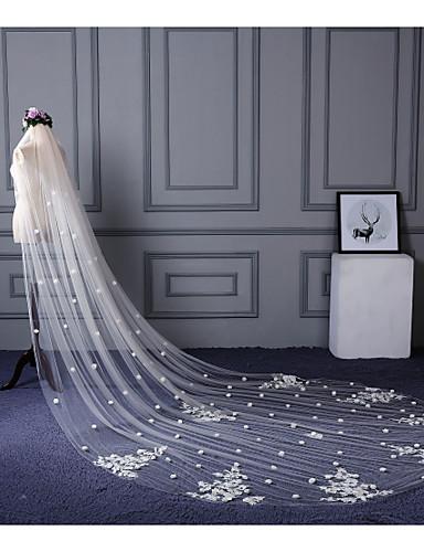 Einschichtig Schnittkante Spitzen-Saum Hochzeitsschleier Kathedralen Schleier Mit Verstreute Perlen mit Blumen Applikationen Spitze Tüll