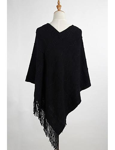 Damen Lang Mantel / Capes-Ausgehen Lässig/Alltäglich Einfach Solide V-Ausschnitt Langarm Baumwolle Herbst Dick Mikro-elastisch