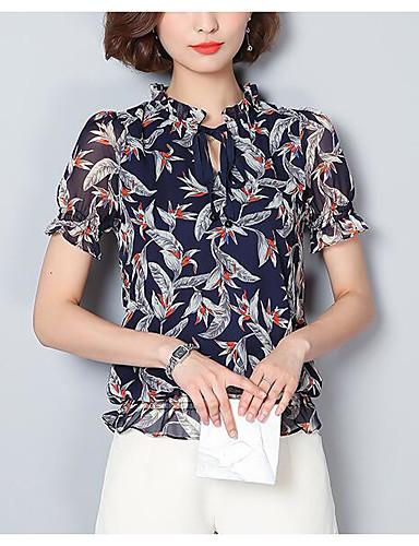 Damen Druck Einfach Lässig/Alltäglich Bluse,V-Ausschnitt Kurzarm Andere