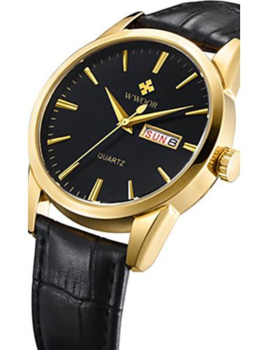 WWOOR Herrn Sportuhr Modeuhr Armbanduhr Einzigartige kreative Uhr Armbanduhren für den Alltag Uhr Holz Quartz Kalender Echtes Leder Band
